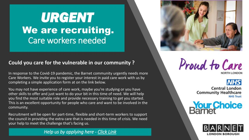 URGENT RECRUITING - Barnet needs Care workers