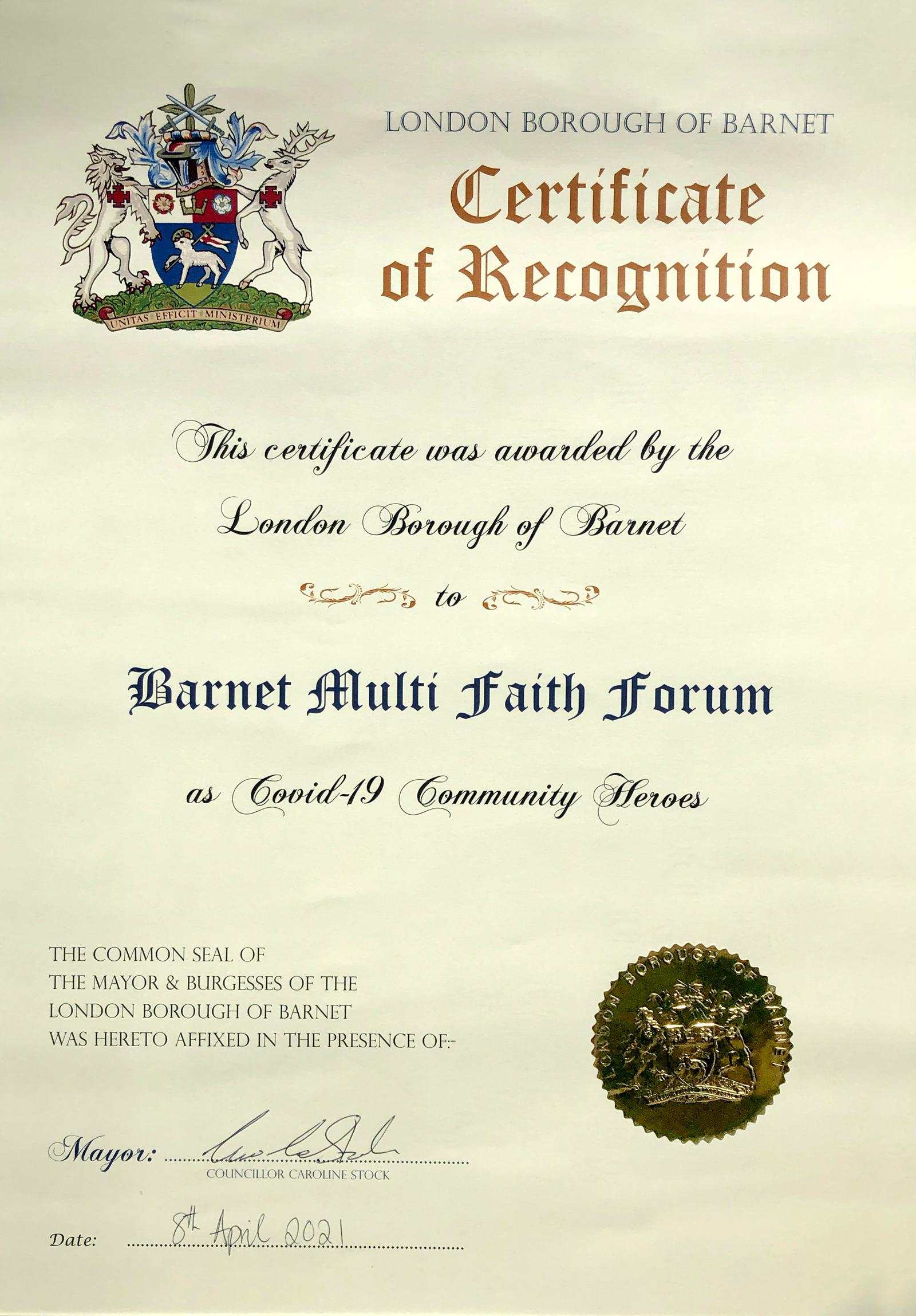Barnet Civic Award - Certificate Scroll as Covid-19 Community Heroes