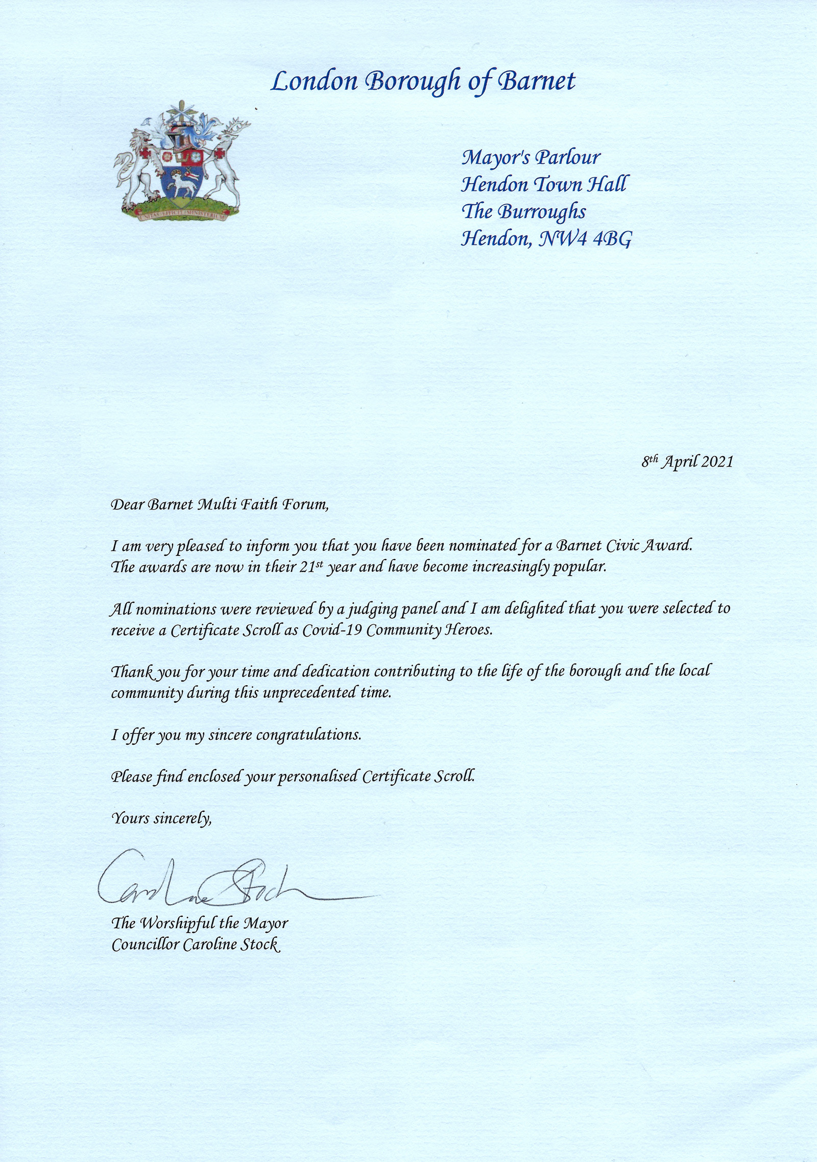 Letter from The Mayor of Barnet in recognition in the Barnet Civic Awards